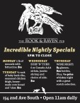 THE ROOK & RAVEN PUB Incredible Nightly Specials